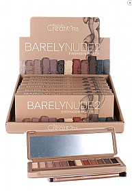 E12BN-B BEAUTY CREATIONS BARELY NUDE 2 EYESHDOW/6PCS