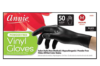 3851-ANNIE VYNYL GLOVES MEDIUM 50CT-BLACK/1PC